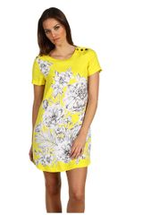 Juicy Couture Lemon and Grey Printed Royal Juicy Dress - Lyst