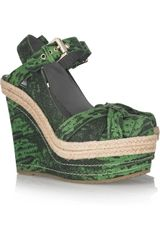 Mulberry Lizard-print Leather Wedge Sandals - Lyst