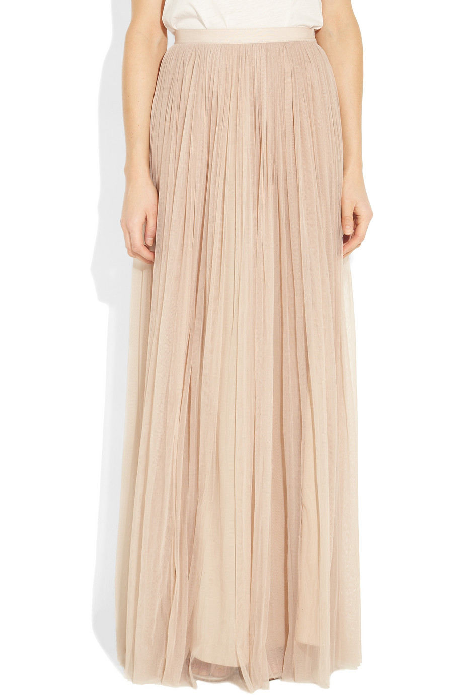mulberry tulle and silk maxi skirt in pink powder lyst