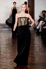 Ralph Lauren Fall 2012 Evening Gown With Golden Bustier Top And Black Velvet Skirt