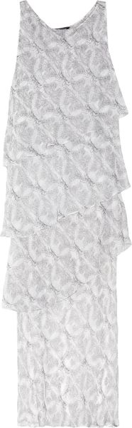 Thomas Wylde Printed Silkchiffon Dress in White - Lyst