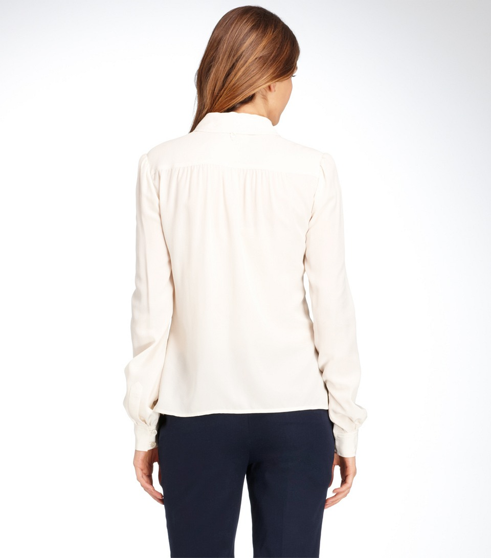 10156d57bf235 Tory Burch Angelique Silk Blouse in White - Lyst
