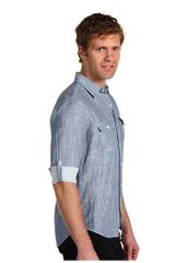 Vince Stripe Roll Sleeve in Blue for Men (l) - Lyst