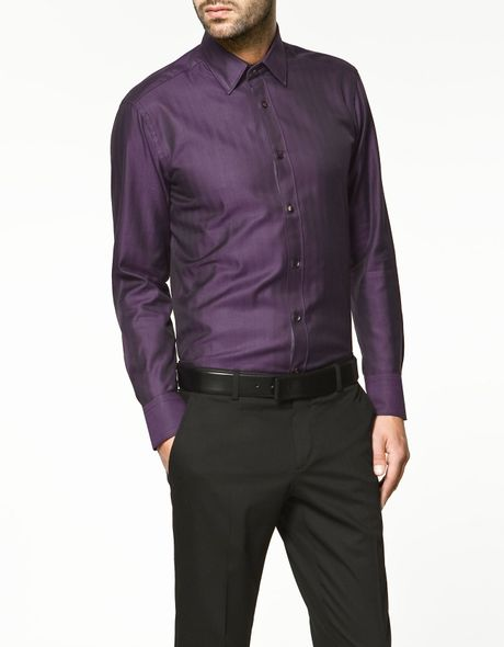 Zara herringbone shirt in purple for men magenta lyst for Zara mens shirts sale
