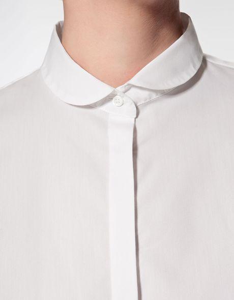 Zara peter pan collar shirt in white lyst for White cotton shirt peter pan collar