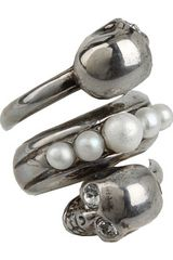 Alexander McQueen Spiral Twin and Pearl Ring - Lyst