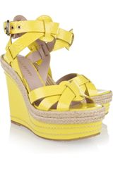 Mulberry Patent-leather Wedge Sandals - Lyst