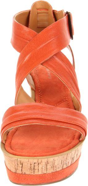 Nine West Womens Frock Wedge Sandal In Orange Lyst