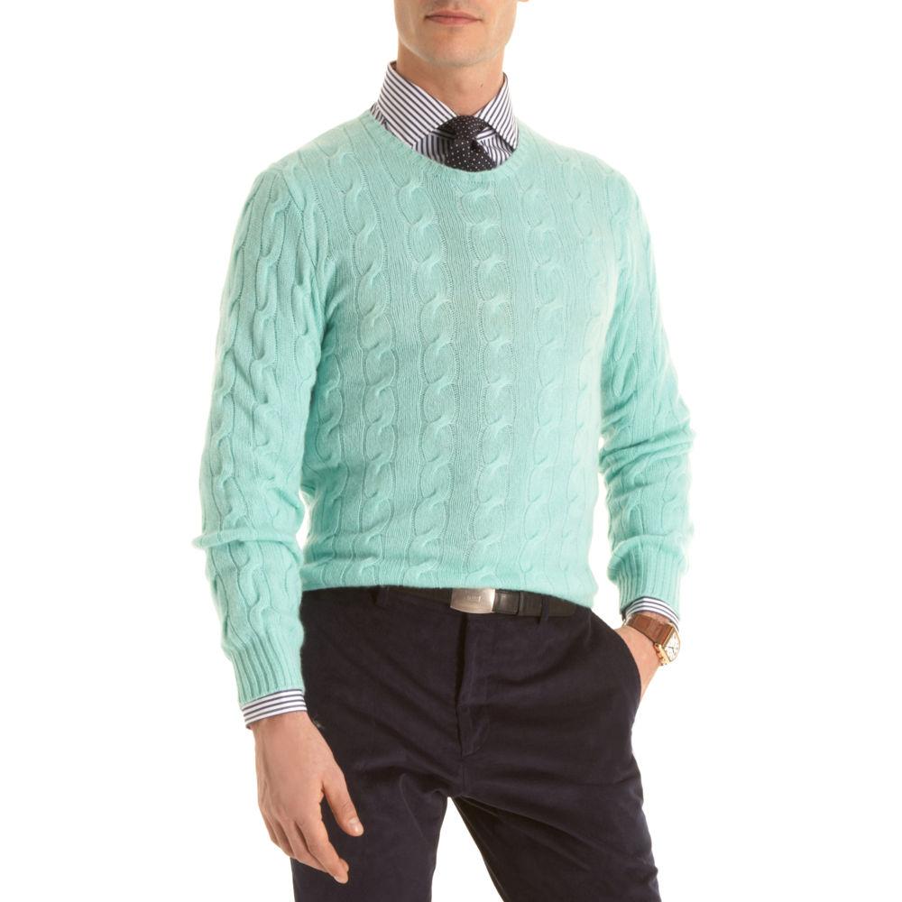 Ralph Lauren Purple Label Crewneck Sweater in Green for Men | Lyst