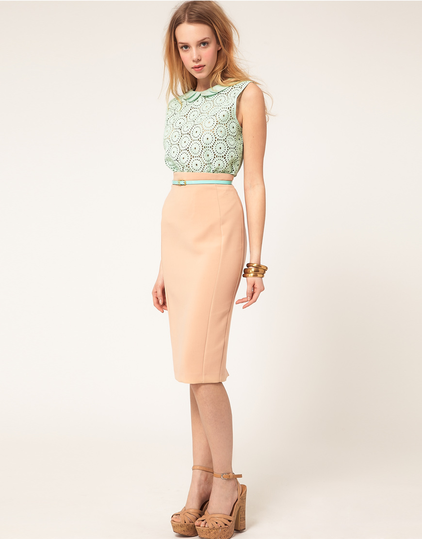 River island High Waist Pencil Skirt in Pink | Lyst