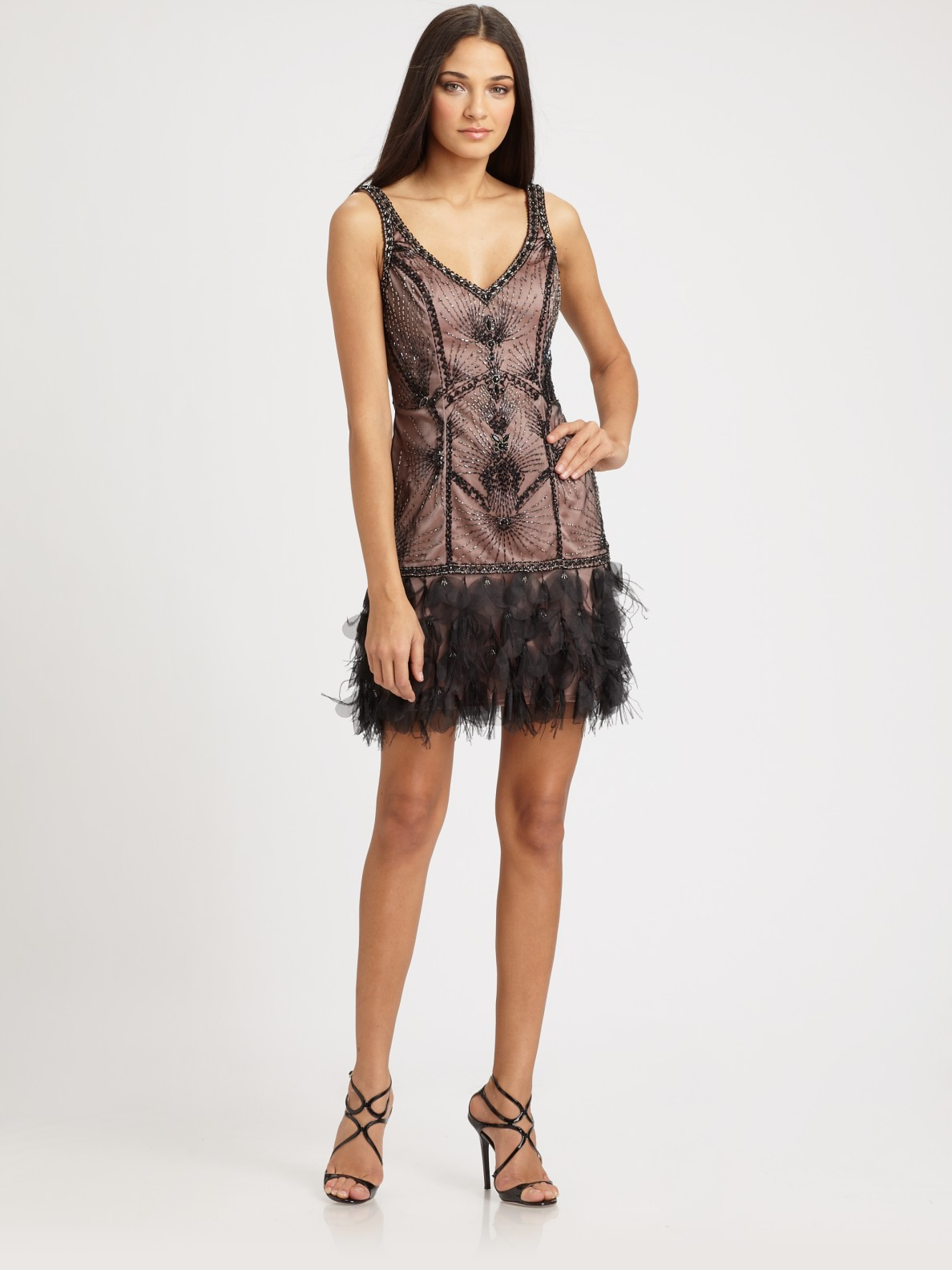 Sue Wong Beaded Feather Dress In Black Lyst