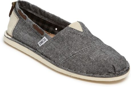 Toms Bimini Stitchout Chambray Slip-on in Black for Men (black chambray)