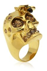 Alexander McQueen Bee and Skull Ring - Lyst