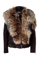 Balmain Brown Leather Biker Jacket with Fur Collar in Brown - Lyst