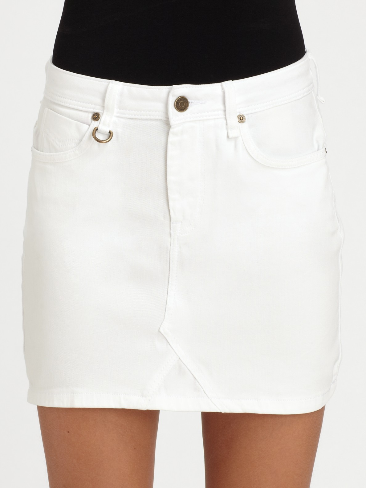 burberry brit stretch denim skirt in white lyst