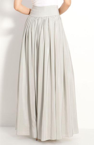 cut25 pleated silk maxi skirt in gray vapor lyst