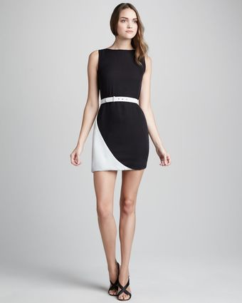 Halston Heritage Belted Contrast Dress - Lyst