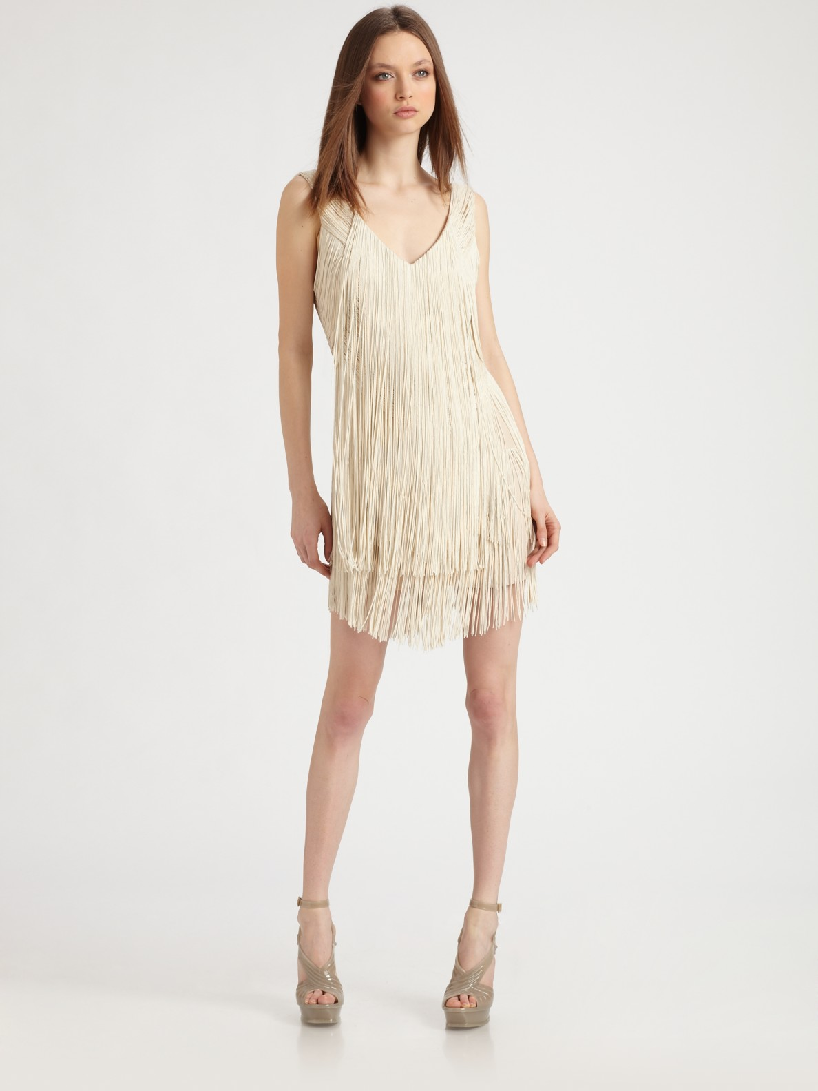 Haute hippie fringe dress in white crema lyst for To have and to haute dress