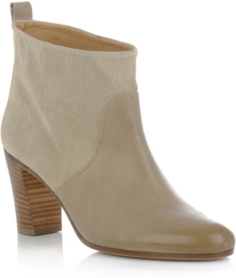 Maison Martin Margiela Printed Suede Ankle Boots in Gray (cream)