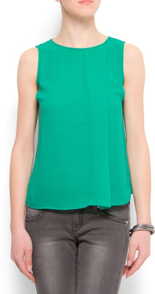 Mango Sheer Top in Green (86) - Lyst