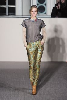 Matthew Williamson Fall 2012 Long Sleeve Organza Shirt with Appliquéd Neckline - Lyst