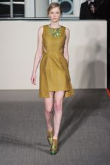 Matthew Williamson Fall 2012 Sleeveless Evening Golden Dress with Appliquéd Neckline and Hem Cutouts - Lyst