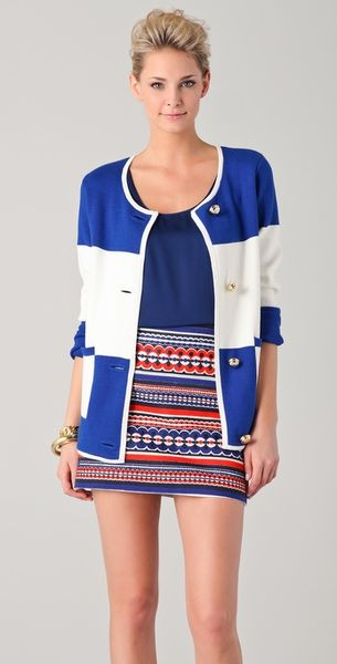 Milly Roberta Striped Cardigan in Blue (cobalt)