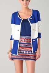 Milly Roberta Striped Cardigan in Blue (cobalt) - Lyst