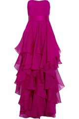 Notte By Marchesa Strapless Silk-chiffon Gown - Lyst