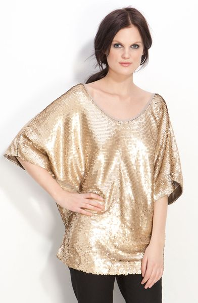 Rachel Zoe Sequin Dolman Top in Gold (matte gold) - Lyst