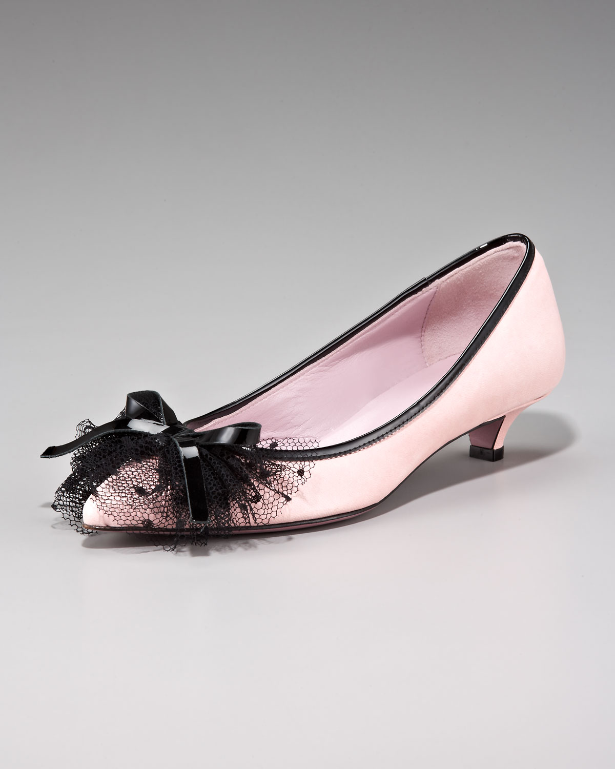 Red valentino Netting & Bow Kitten-heel Pump in Pink | Lyst
