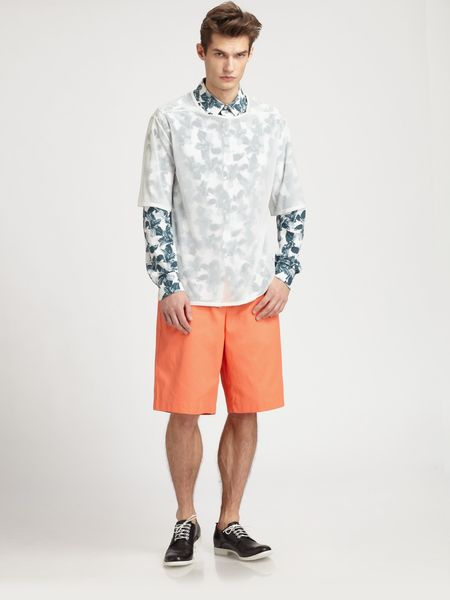 Richard Chai Relaxed Heavy Twill Shorts in Orange for Men - Lyst