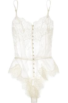 Rosamosario Buongiorno Dolcezza Silk-georgette and Chantilly Lace Bodysuit - Lyst