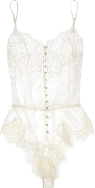 Rosamosario Buongiorno Dolcezza Silkgeorgette and Chantilly Lace Bodysuit in White - Lyst