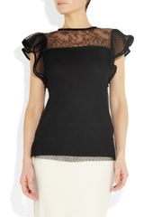 Valentino Point Desprit and Jersey Top in Black - Lyst