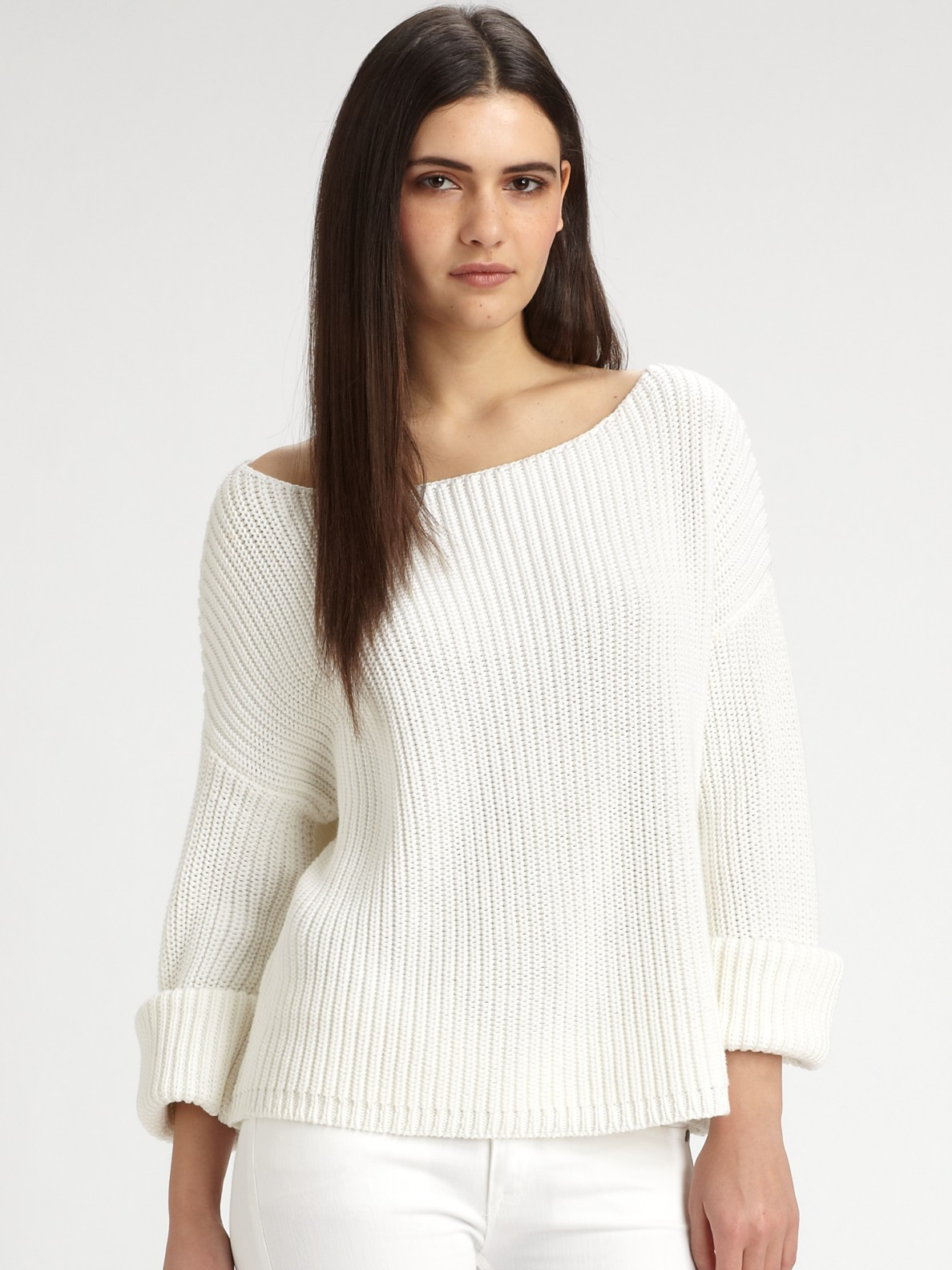 Vince Ribbed Cotton Boatneck Sweater in White | Lyst