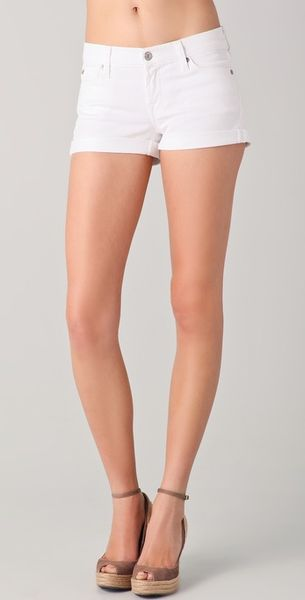 7 For All Mankind Roll Up Short in White - Lyst