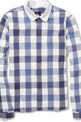 B Store Bobby Contrast-collar Checked Cotton Shirt - Lyst