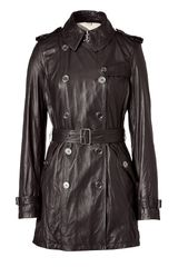 Burberry Brit Black Leather Trench Coat