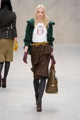 Burberry Prorsum Fall 2012  Cardigan with Oversized Collar in Bottle Green  in Green - Lyst