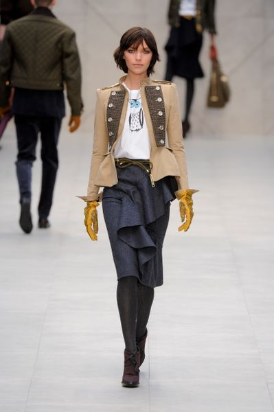 Burberry Prorsum Fall 2012 Blue Pencil Skirt with a Big Asymmetrical  Diagonal Ruffle in Blue - Lyst