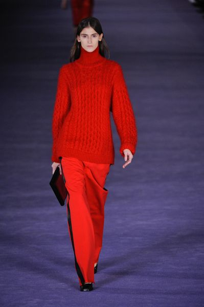 Christopher Kane Fall 2012 Long Sleeve Cable Knit Mohair Turtleneck Sweater In Red  in Red - Lyst