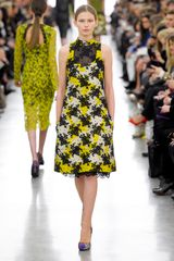 Erdem Fall 2012 Floral Lace Embroidered Aline Dress in Yellow - Lyst