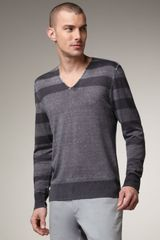 John Varvatos Striped Linen Sweater - Lyst