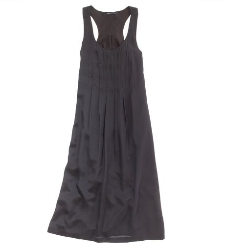 Madewell Silk Smockpleat Dress in Black (true black) - Lyst