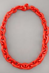 Tory Burch Chunky Resin-link Necklace, Red - Lyst