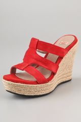 Ugg Tawnie Suede Wedge Sandals - Lyst