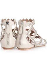 Alaïa Studded Leather Sandals in Silver - Lyst