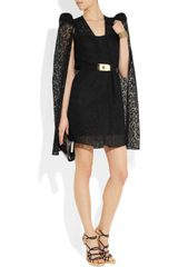 Alessandra Rich Ruched Silk Lace Cape in Black - Lyst