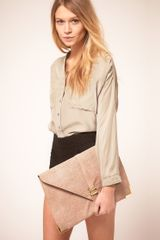 Asos Collection Asos Slot Through Envelope Clutch in Beige (nudesnake) - Lyst